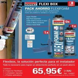 SOUDAL FLEXIBOX Pack de instalación con espuma, pistola y limpiador