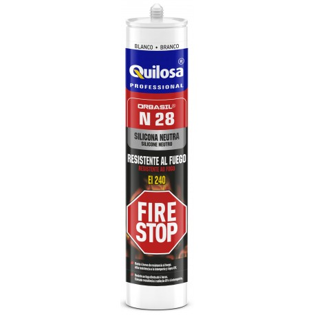 Silicona neutra oxima QUILOSA ORBASIL N-28 FIRE STOP CAJA 24 Ud .